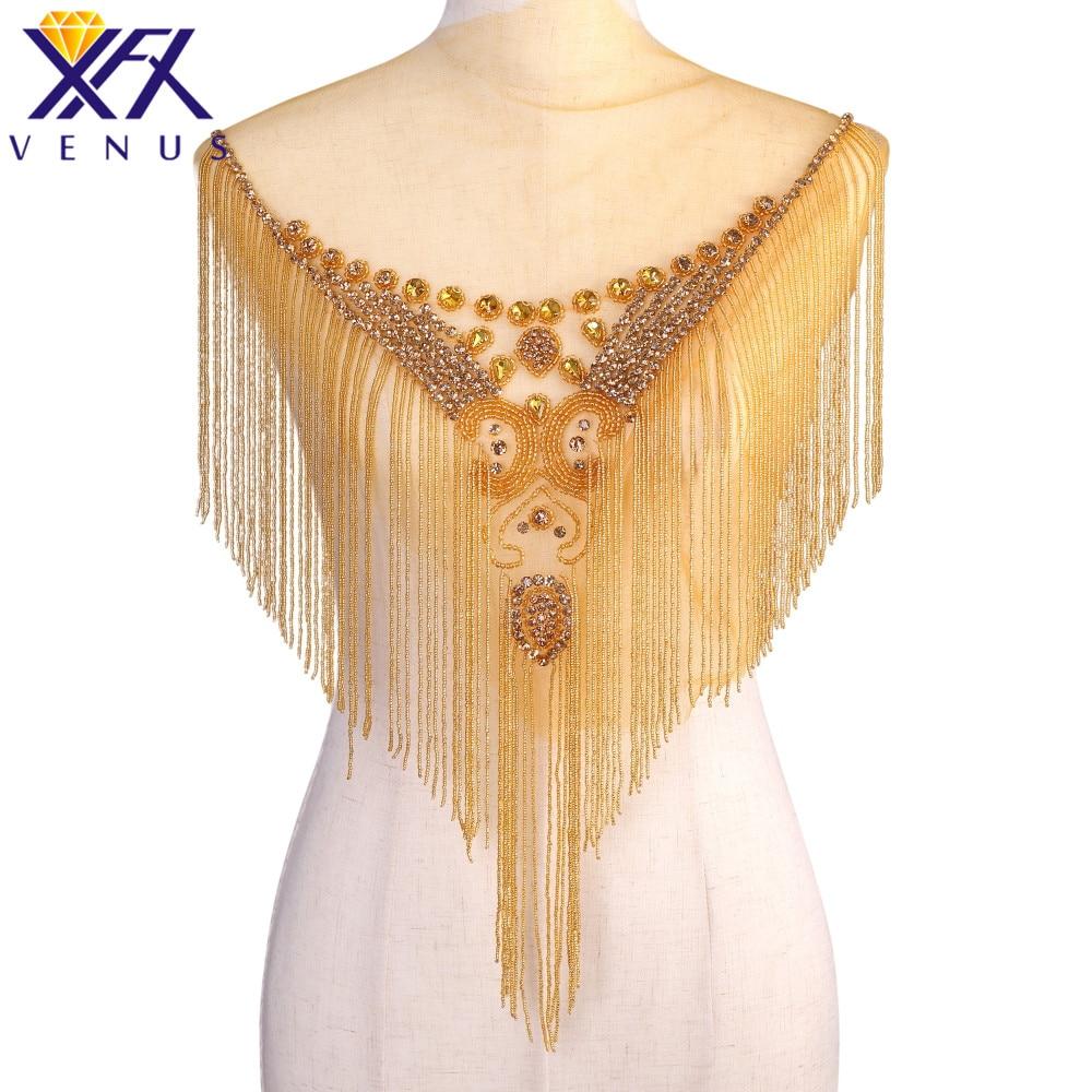 XFX VENUS 1 Piece Handmade Dangling Rhinestone Beads Applique Bridal Beaded Tassel Trimming  Patches Bodice Wedding Dress