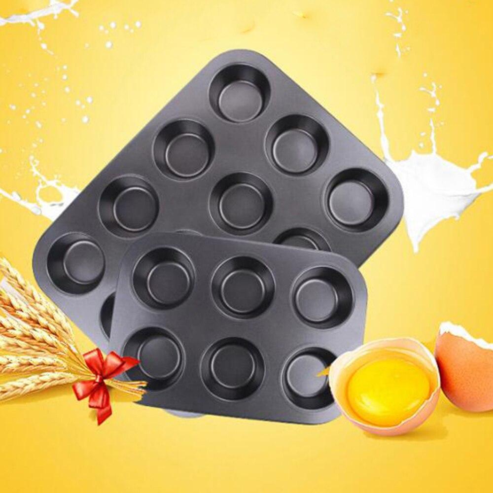 6/12 copos de aço carbono ovo tart bandeja de cozimento cupcake em forma de bolo bandeja antiaderente cupcake cozimento bandeja 3d ferramentas bolo quente