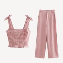2020 Hot European Style Summer New Arrival 2 Piece Set Women Slim Bow Tie Lattice Sling Vest + Wide Leg Pants Free Shipping