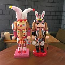 Poupée casse-noisette en bois 1 pièce 30cm   Design Clown lapin, marionnette artisanale, ornements décoratifs, décoration de maison, cadeaux de noël