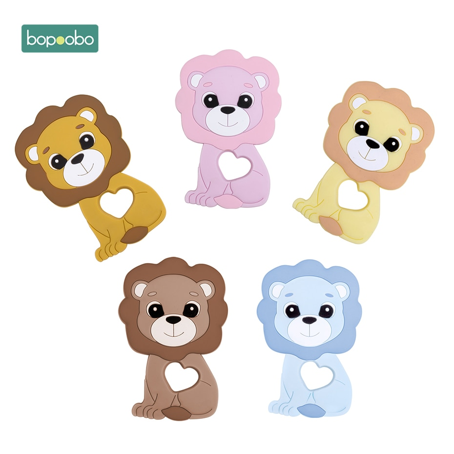 Bopoobo 1pc Silicone Teething Beads Baby Teether Food Grade Lion  Bead DIY Chewable Toys Nursing Tee