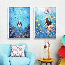 Nueva costura, kit de bordado a todo Color DMC, dibujo animado del mundo marino chicas ángeles patrón pintado regalo de punto de Cruz decoración de la pared del hogar