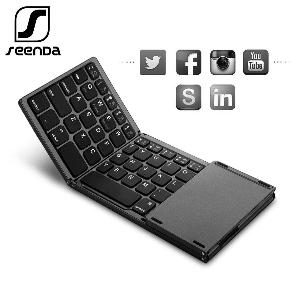 SeenDa Складная Беспроводная Bluetooth клавиатура перезаряжаемая клавиатура с тачпадом мини клавиатура для IOS/Android/Windows iPad Tablet