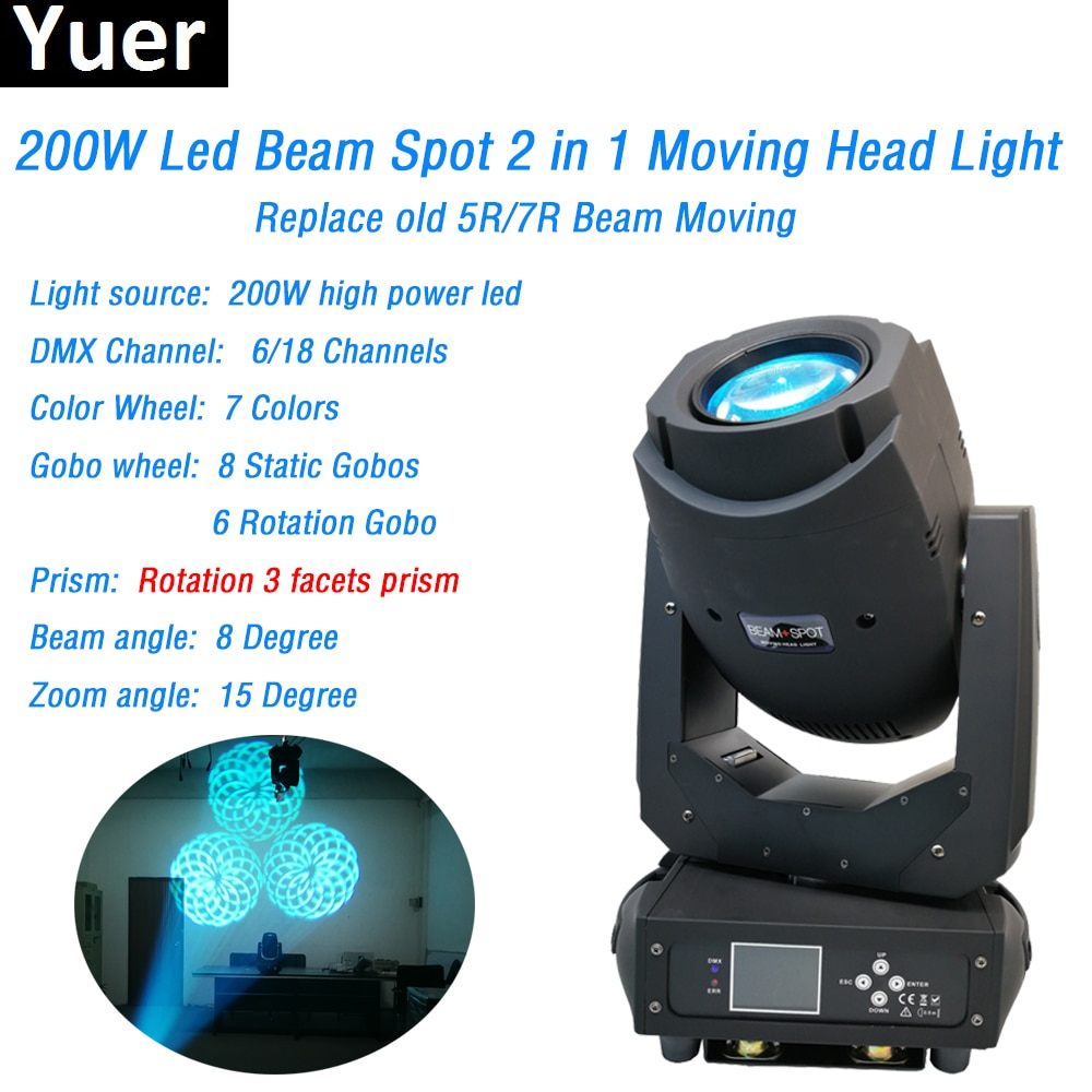 discount price 8 pack 180w 2r sharpy beam spot moving head light dmx512 for stage lighting dj disco club party dance wedding bar New 200W Beam Spot 2IN1 Moving Head Light DMX512 Sound Control Color Music Lights For DJ Disco Party Club Bar Wedding Lighting