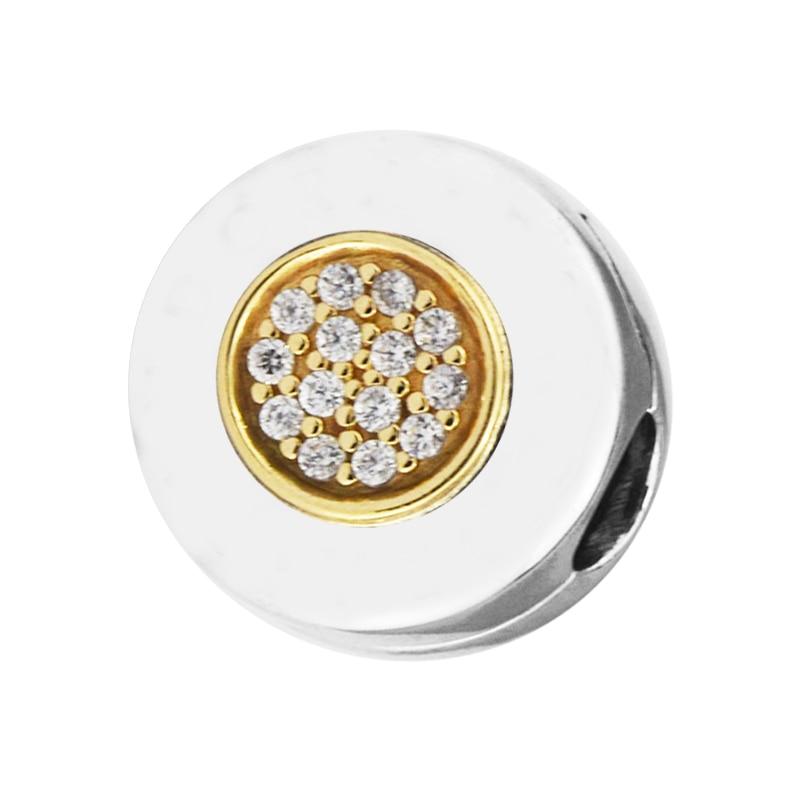 Se encaixa para pandora pulseiras assinatura clipe encantos com 14 k ouro real 100% 925 sterling-prata-contas de jóias frete grátis