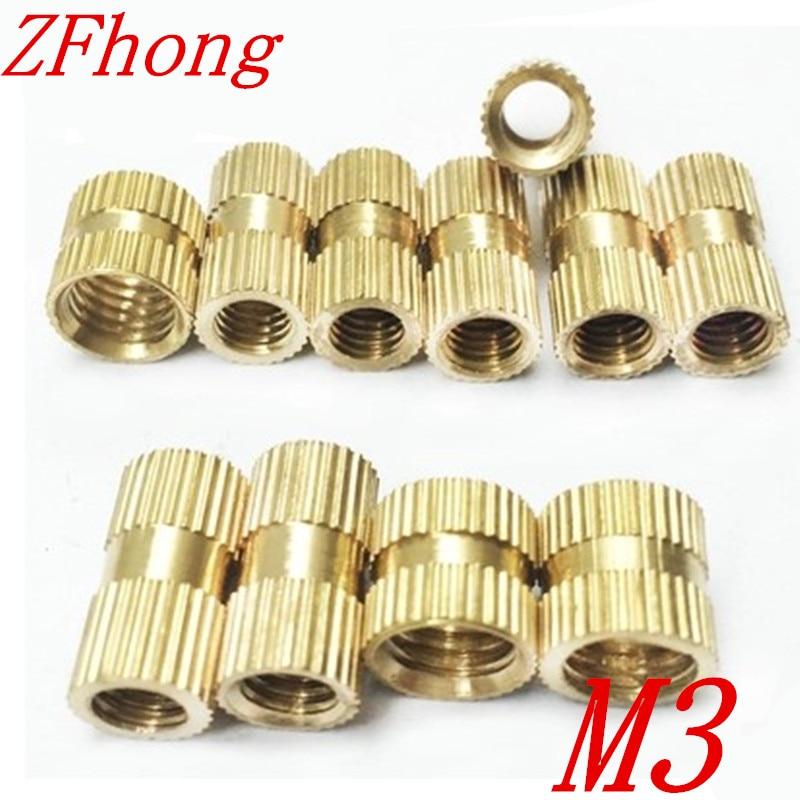 100pcs m3*3/4/5/6/8  OD 4.2mm M3 Injection Molding Brass Knurled Thread Inserts Nuts