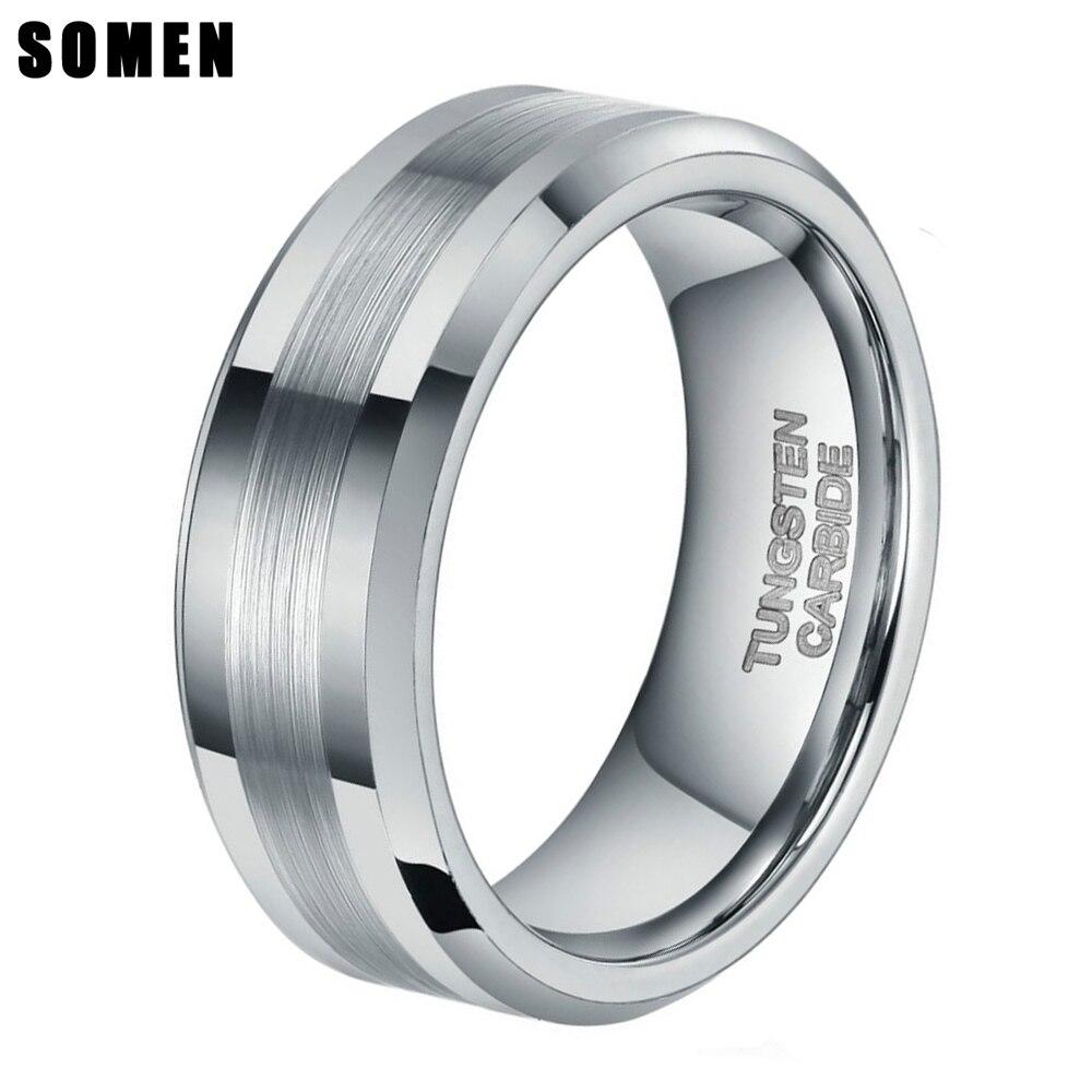8mm homens escovado prata cor anel de carboneto de tungstênio casamento bandas polido anéis de noivado moda masculino jóias anel nunca desaparecer