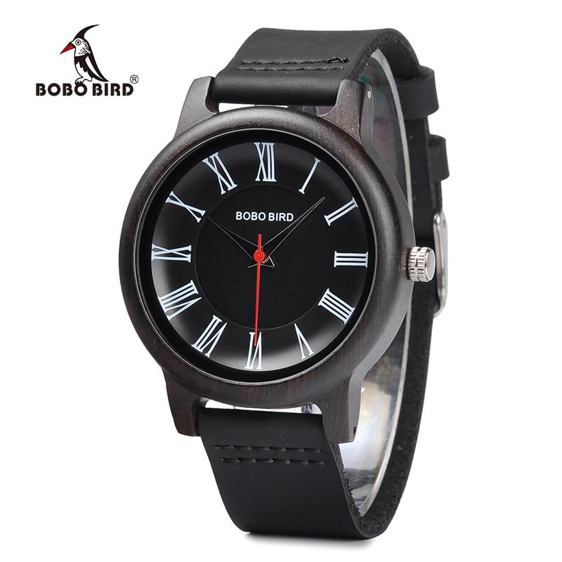 BOBO BIRD Wood Watch Roman Numerals Dial Quartz Movement Timepiece with Leather Band J-Q15 Relogio Masculino