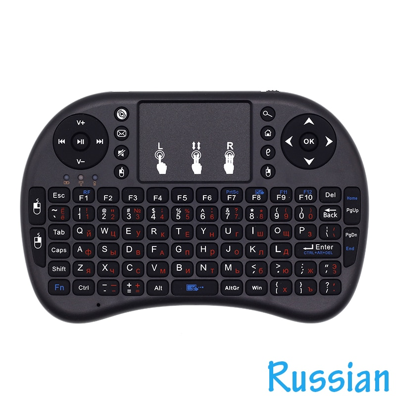 I8 английская, русская клавиатура 2,4G мини беспроводная клавиатура Air Mouse с тачпадом для Android TV Box/Mini PC/Проекторы