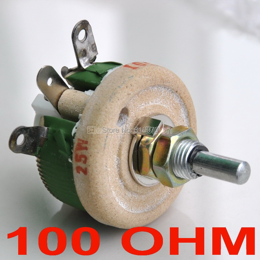(10 قطعة/الوحدة) 25 واط 100 أوم عالية الطاقة سلك الجهد ، ريوستات ، متغير المقاوم ، 25 واط.