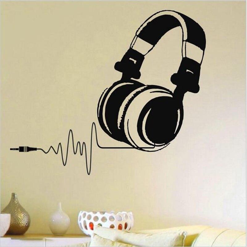 Autocollants muraux en vinyle pour écouteurs DJ   Étiquette amovible, décoration murale, pour écouteurs Audio musique impulsion, Art, pour la maison, pour fans de musique
