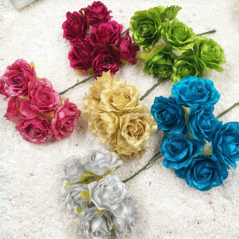 HINDJEF 6 PCS/artificial silk blue demon ji wedding bouquets of roses flower decoration DIY wreath gift boxes collage simulation