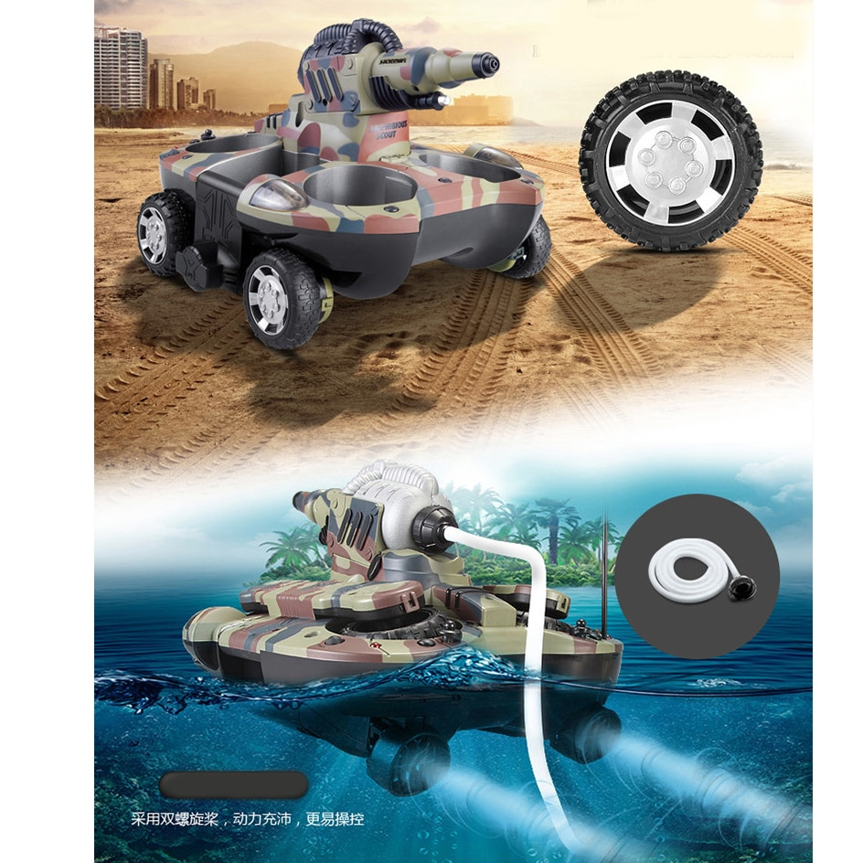 Rc Boat Tank Amphibious Radio Control Toys For Boys 10 Years Children Rc Ship Robotic Remote Control Boat Tank Plastic Drop Ship