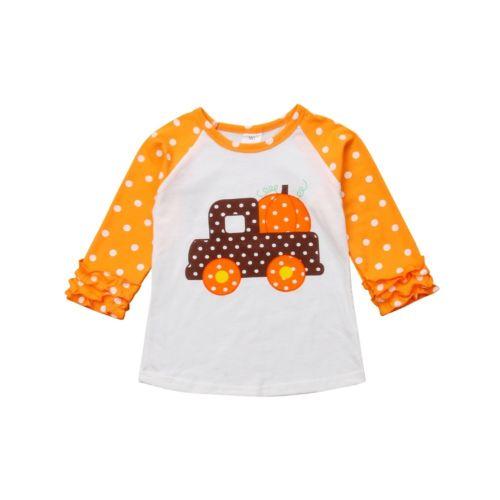 Camiseta de manga larga de calabaza de otoño para niños y niñas