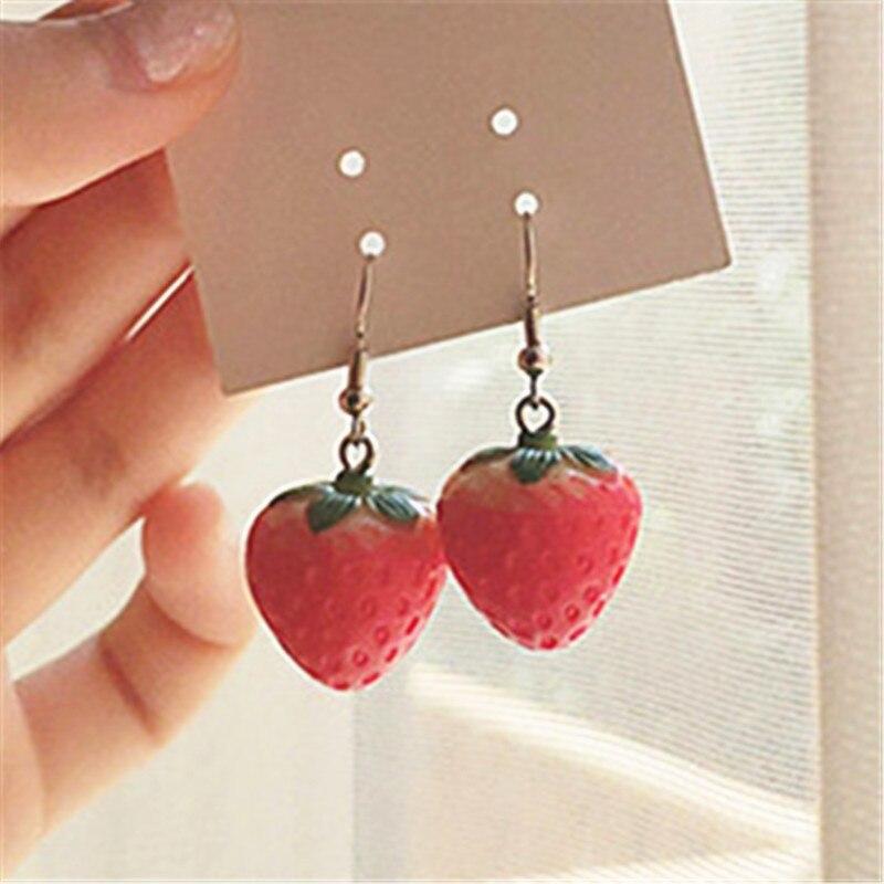 Nuevo pendiente de fresa de fruta, pendiente colgante de fresa roja de simulación para mujer, accesorios de joyería delicada DIY