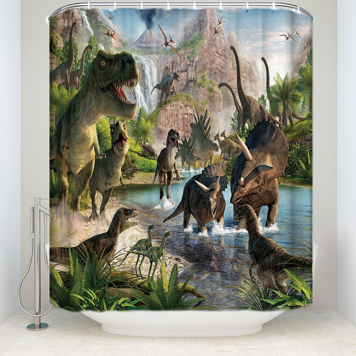 WARMTOUR занавеска для душа 3D Древний Динозавр мир Водонепроницаемая Ванная комната
