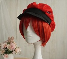 Kuroshitsuji Black Butler Grell Sutcliff rojo largo recto resistente al calor Cosplay del pelo disfraz peluca calavera cadena gafas A616