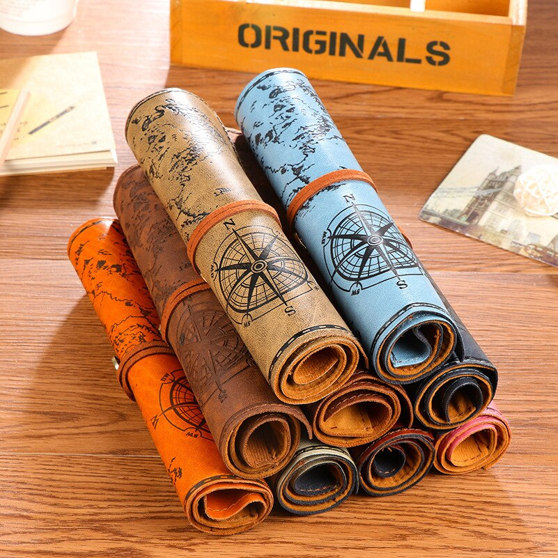 Bolsa de lápices Mariana Retro mapa del tesoro estuches de lápiz Vintage rollo de lujo arriba de cuero de bolsillo PU bolsa pluma bolsillo papelería regalo
