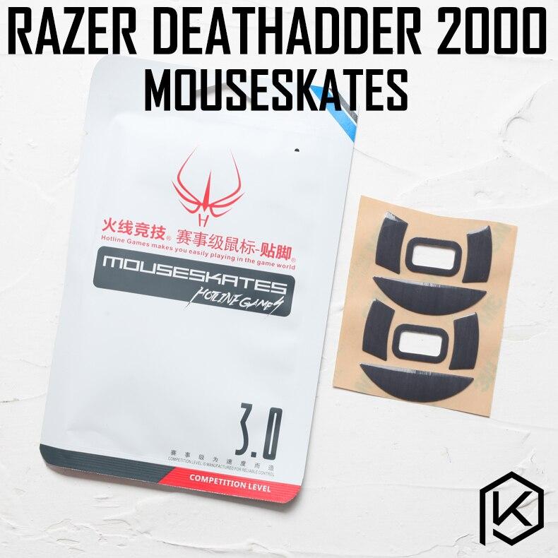 Hotline jogos 2 jogos/pacote original competição nível mouse pés patins gildes para razer deathadder 2000 0.6mm de espessura teflon