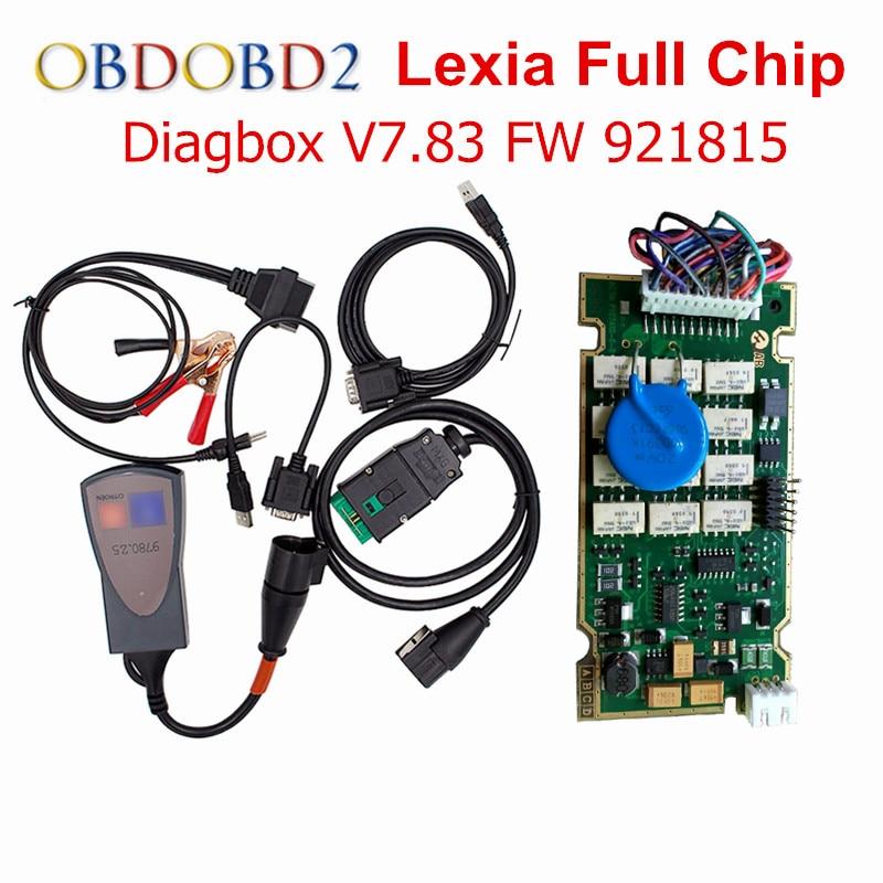 Gold Rand Diagbox V 7,83 Lexia 3 Volle Chip 921815C Für Citroen Peugeot Diagnose Werkzeug Lexia 3 12 stücke Relais 7 stücke Optokoppler