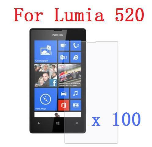 High Clear Screen Protector For Nokia Lumia 520  Clear Crystal  Cover Film +Cleaning Cloth X 100PCS/