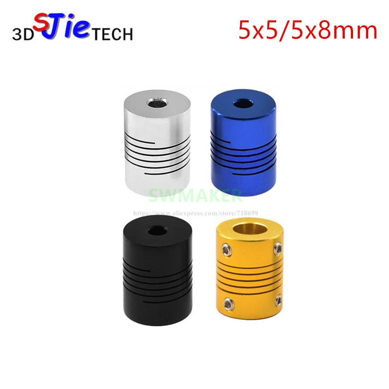 SWMAKER 1pcs black blue yellow 5x5mm 5x8mm Jaw Shaft Coupler for 3D printer Flexible Coupling Router Connector CNC Stepper Motor