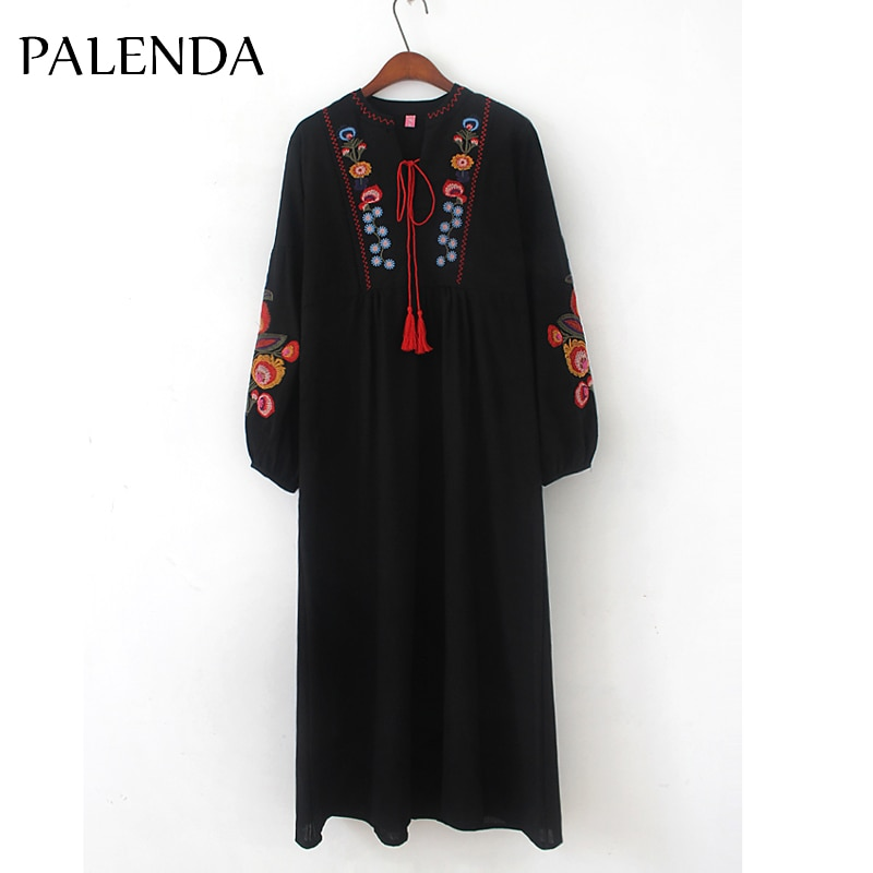 Vestido de Nuevo bordado kaftan boho bohemio mujer talle grande algodón suave tela
