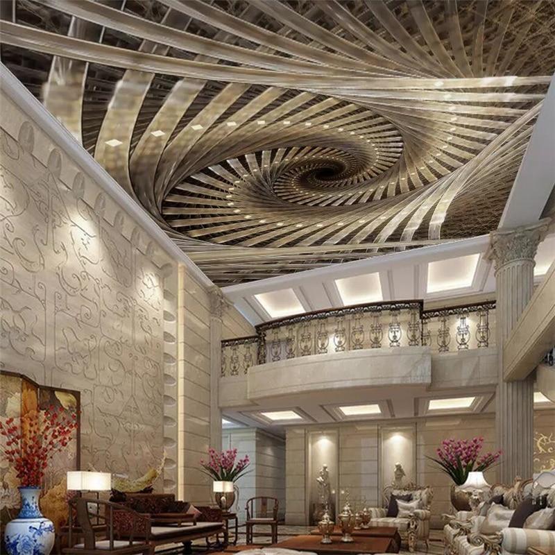 Beibehang-papel tapiz de techo personalizado, mural de fotos 3D, arte geométrico real...