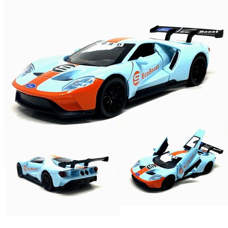 Modelo de Ford GT de alta simulación, modelo de coche de aleación de escala 132, 3 puertas abiertas, juguete de luz de sonido, envío gratis, al por mayor