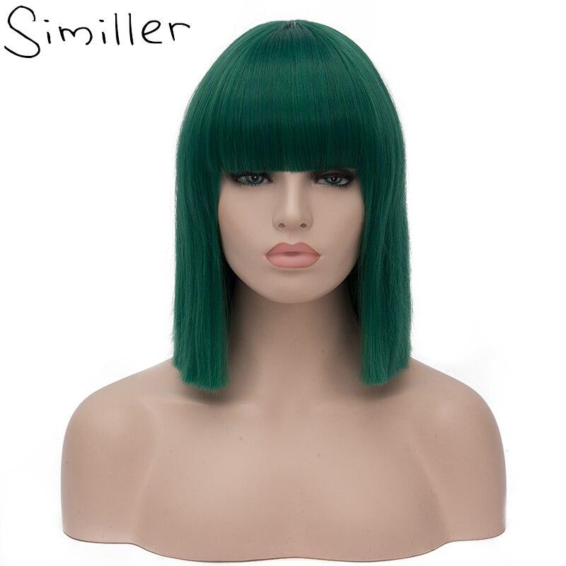 Similar feminino curto bob perucas sintéticas de alta temperatura fibra cabelo com franja/franja e rosa net verde escuro azul roxo