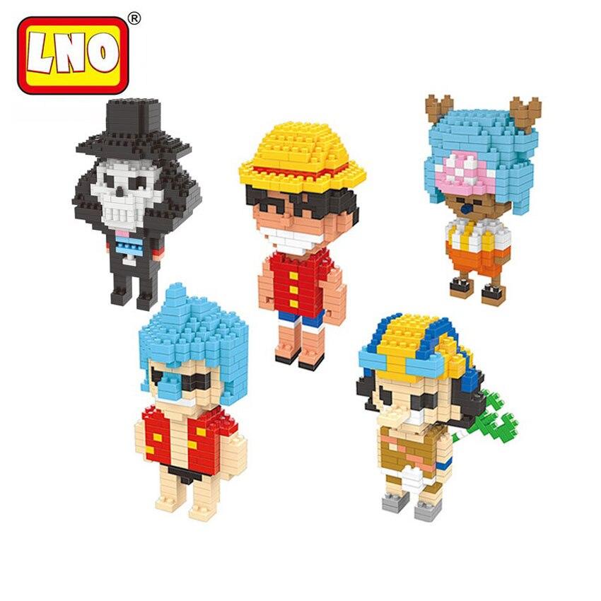 LNO Building Blocks Comic Luffy Usop Chopper Brooke Anime Cartoon Figures ABS Plastic Mirco Brick Hobbies Toy Funny For Children