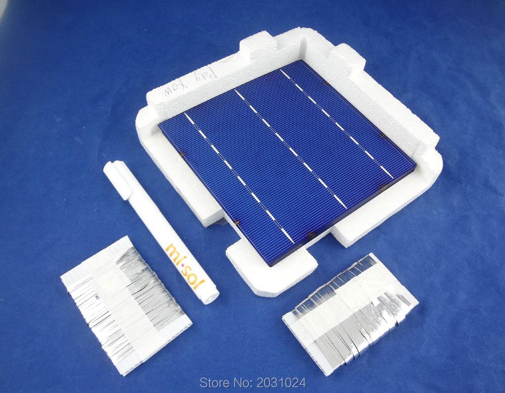 40 Uds POLY 6x6 4,3 W kit de células solares DIY para panel solar, lápiz de soldadura, tabulación de autobús
