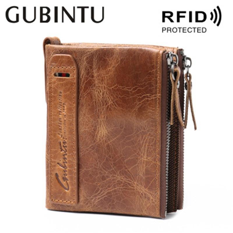 GUBINTU Genuine Crazy Horse Leather Men Wallet Short Coin Purse Small Vintage Wallets Brand High Quality Designer purse carteira