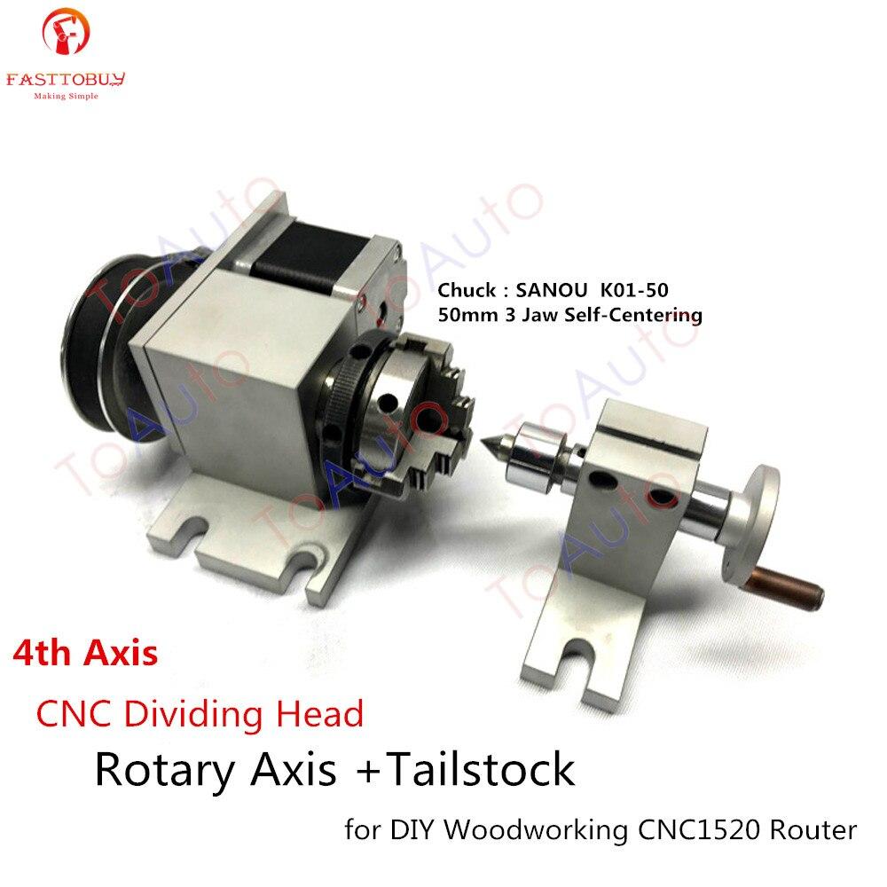 Eje giratorio de cabeza divisoria CNC + culata 4ª eje Nema17 Motor + K01-50 50mm 3 mandíbula mandril de torno autocentrante para carpintería
