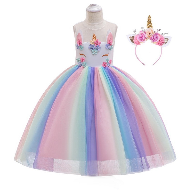Arco Iris de unicornio para niñas, disfraces de Pony, princesa niña, tutú de tul, vestidos con unicornio, diadema, Set para niños, Fiesta Temática de cumpleaños, Cos