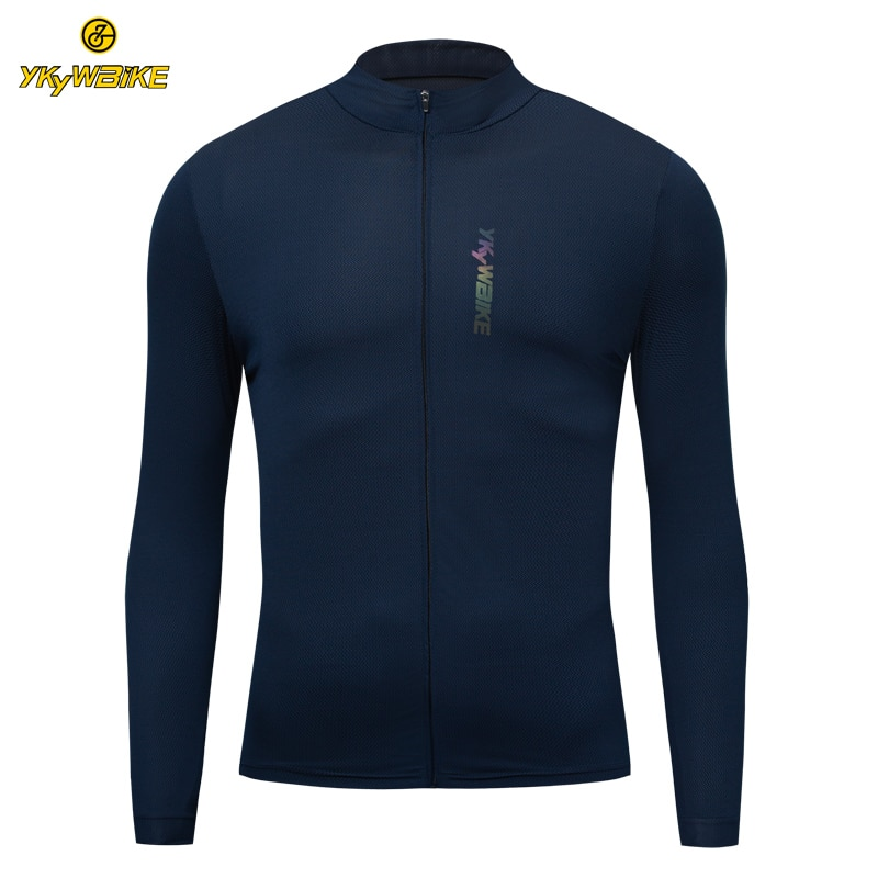 YKYWBIKE Long Sleeve Cycling Jersey 2020 Reflective Mountain Road Bike Jersey MTB Maillot Ciclismo Hombre Bike Shirts Zip Pocket