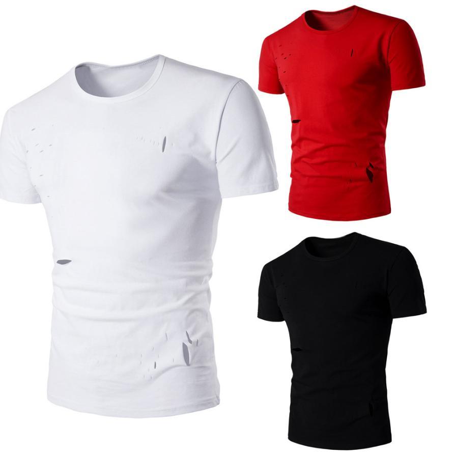 Verano moda Casual hombres sólido cuello redondo hombres agujero de manga corta Camiseta Tops blusa Broadcloth marca Miesten t-paita # AA