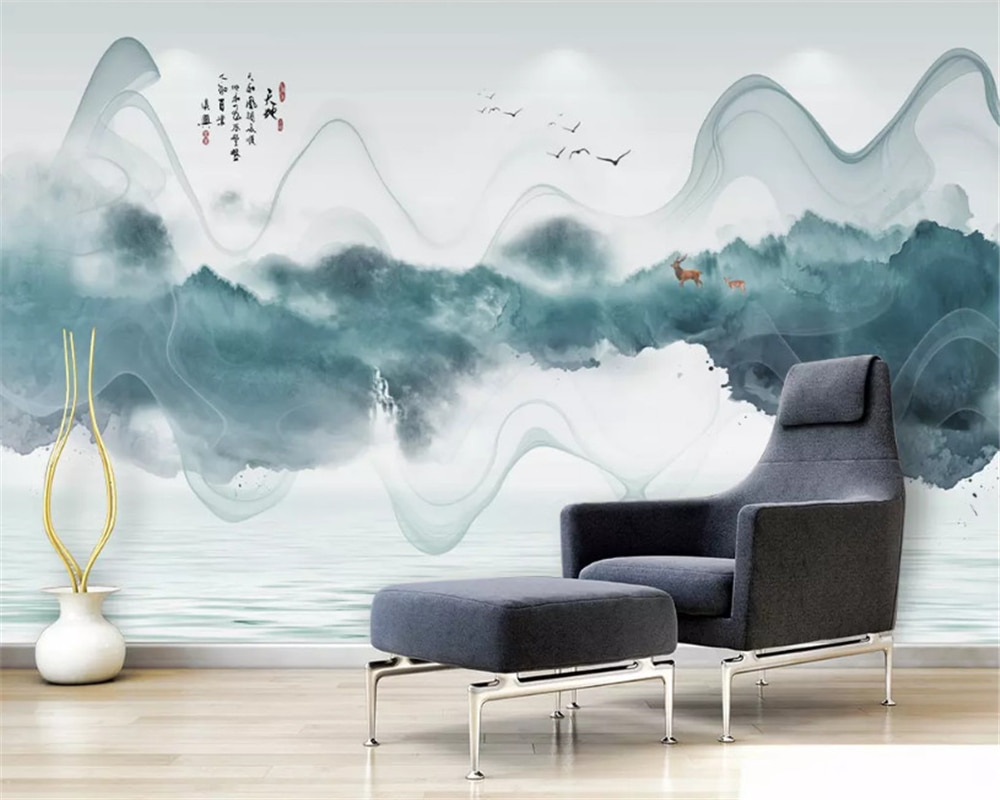 beibehang Custom silky papel de parede wallpaper simple new Chinese ink landscape abstract line background decorative painting beibehang new papel de parede 3d wallpaper chinese style simple wallpaper relief dream watercolor lotus lotus background tapety
