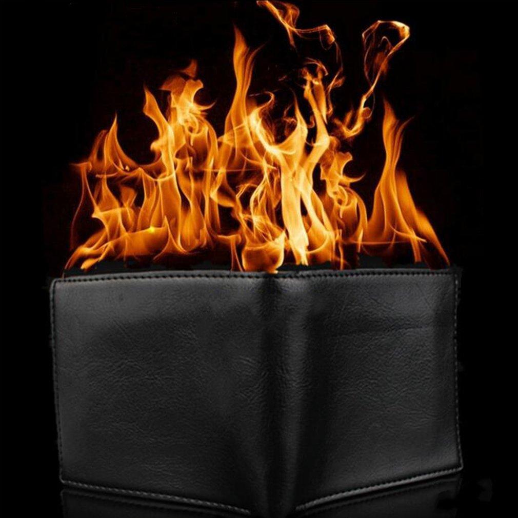 ¡Caliente! Billetera plegable de deporte con diseño de llama y truco de magia, billetera de truco de mago, espectáculo callejero Goma de moda