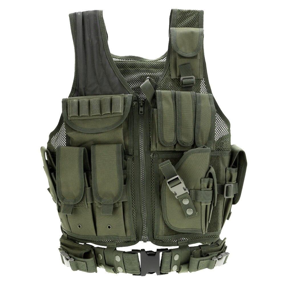 Chaleco táctico al aire libre camuflaje militar cuerpo armadura deportes ropa caza chaleco ejército Swat Molle chaleco negro