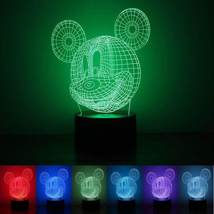 Fabricantes punto al por mayor 1,5 W Mickey luz de noche USB botón de encendido tipo 3D creativo siete colores luces LED