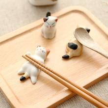 1 juego Zakka palillos de cerámica bonitos soporte de apoyo cuchara soporte de palillo de cortar decoración del hogar organizador de cocina