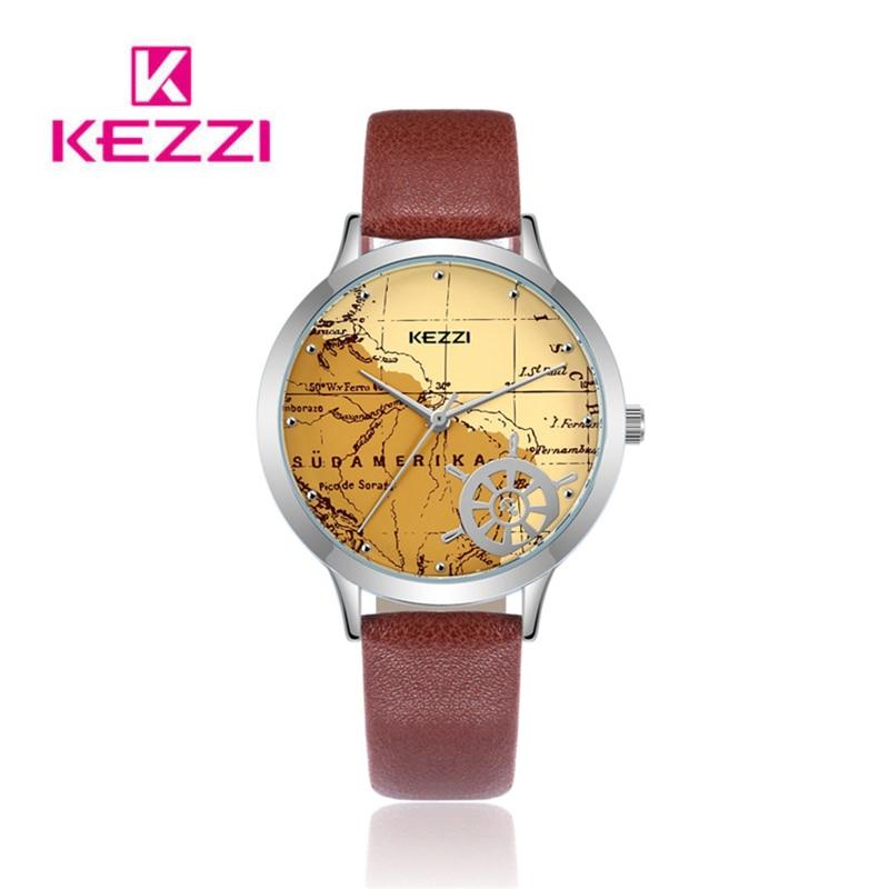 Reloj Kezzi de cuero Casual para Mujer, Reloj con mapa creativo, Reloj de pulsera de cuarzo con esfera grande para Mujer, Reloj deportivo de moda para Mujer, regalo para Mujer