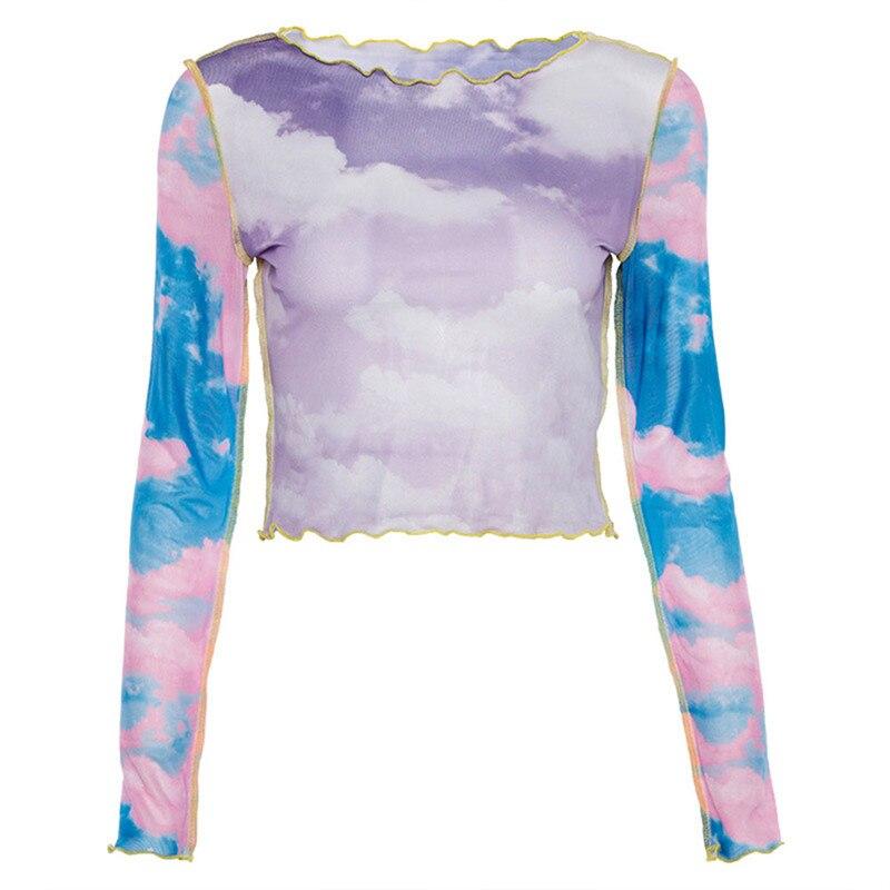 Camiseta con dibujo de nube de cielo azul transparente de malla para mujer, Camisetas básicas ajustadas de manga larga, camisetas casuales a la moda de verano, Top para fiesta o discoteca