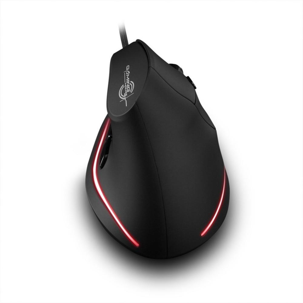 ZelotesT-20 ratón Vertical con cable USB 3D Gaming Mouse programable 6 botones LED óptico ratones Escritorio PC 3200DPI ajuste L0118