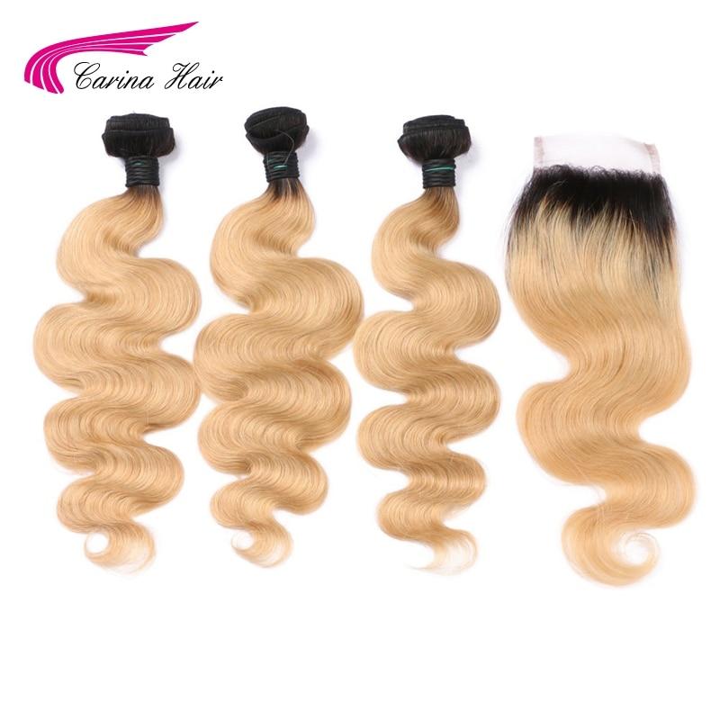 كارينا-وصلات شعر ريمي برازيلية طبيعية ، مظللة 1b 27 ، أشقر عسلي ، وصلات شعر من الأذن إلى الأذن