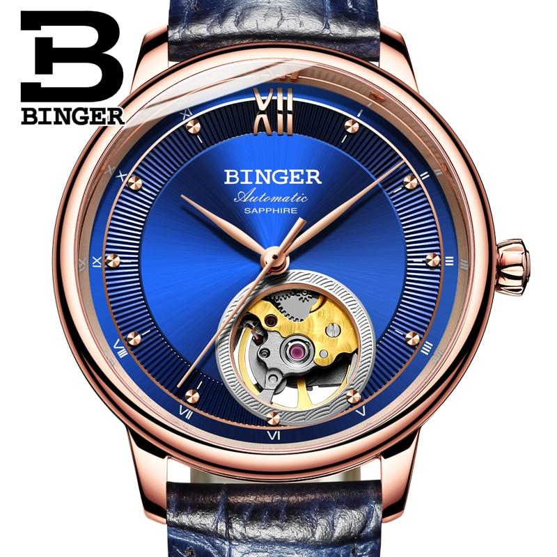 Switzerland BINGER Women's watches Ultra-thin Japan 90S5 Automatic Movemt Tourbillon sapphire Mechanical Wristwatches B-1180W-2 enlarge