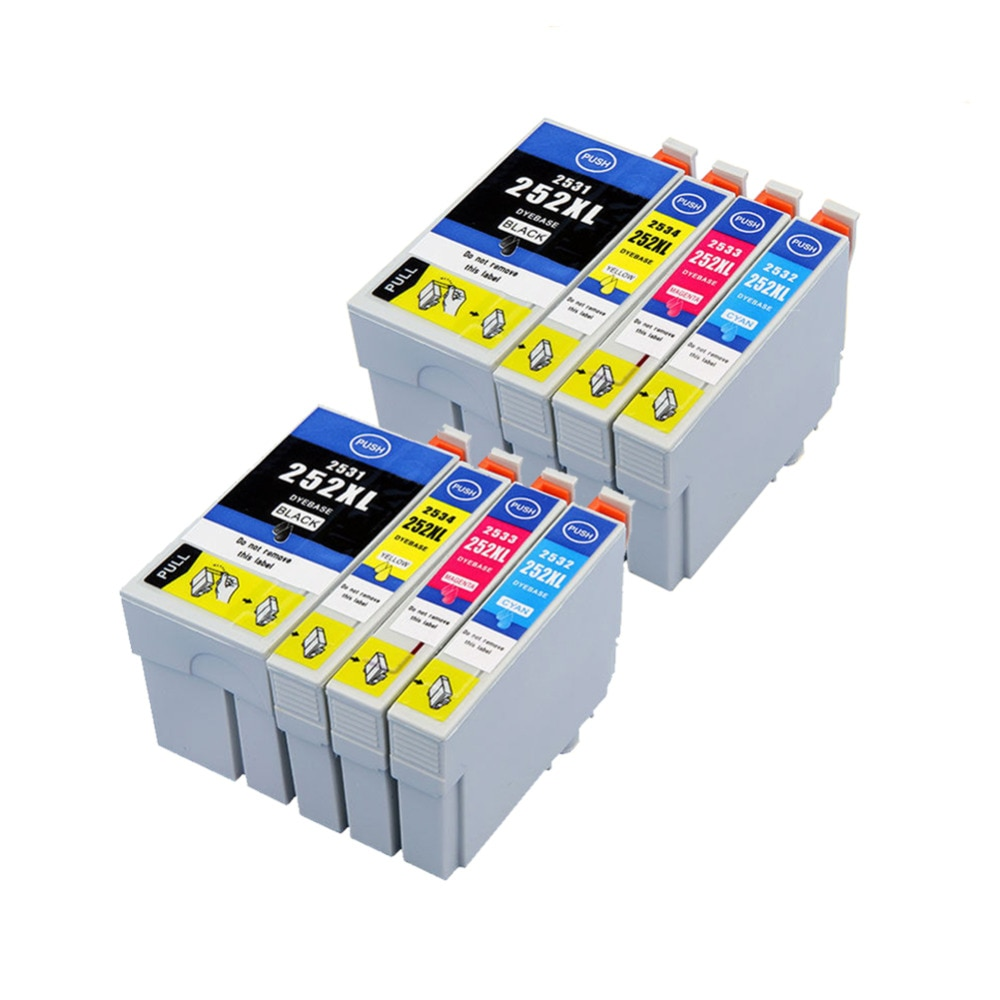 YLC 8PK 4 colors 252XL 252 compatible ink cartridge for Epson WF-3620 WF-3640 WF-7610 WF-7620 wf-7110 WF-7710 WF-7720 Printer