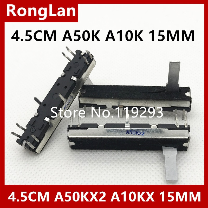 Sintetizador de órgano electrónico 4,5 cm 45MM doble A50K A10K longitud 15MM instrumento de plástico para empujar potenciómetros deslizantes rectos