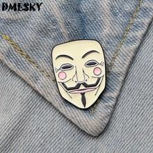 DMLSKY Mask Metal Brooches Enamel Pins Men Lapel Pin Shirt Brooch Backpack badge Women Collar Pin Jewelry M3201